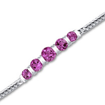 Round Cut Created Ruby Gemstone Bracelet in Sterling Silver Style sb2790