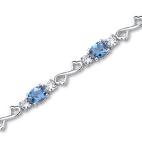 9.00 carats Oval Cut London Blue Topaz White CZ Gemstone Bracelet in Sterling Silver Style SB3056