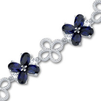 Oval Cut Created Sapphire & White CZ Gemstone Bracelet in Sterling Silver Style SB3104