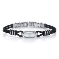 Exclusive Style: Stainless Steel ID-style Dual Rubber Cord Link Bracelet Style SB3392