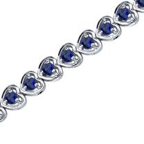 Dainty Hearts: Round Shape Blue Sapphire Gemstone Bracelet in Sterling Silver Style SB3536