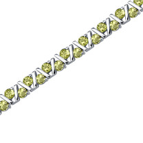6.50 Carats Round Shape Peridot Bracelet in Sterling Silver Style SB3602