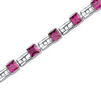 Charming Style: Princess Cut Ruby Gemstone Bracelet in Sterling Silver Style SB3654