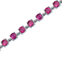 Eternally Magnificent: Round Shape Ruby Gemstone Bracelet in Sterling Silver Style SB3678