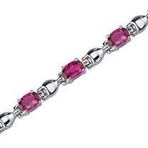 Exquisite Classic: Oval Shape Ruby Gemstone Bracelet in Sterling Silver Style SB3750