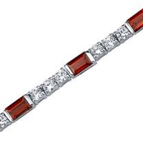6.25 Carats Baguette Cut Garnet & White CZ Bracelet in Sterling Silver Style SB3756