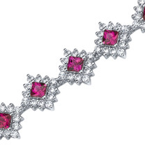 Princess Cut Ruby & White CZ Bracelet in Sterling Silver Style SB3812