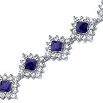 Princess Cut Blue Sapphire & White CZ Bracelet in Sterling Silver Style SB3814