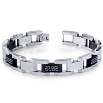 Mens Stainless Steel Black and Silver-tone Greek Key Large Link Bracelet Style SB3918