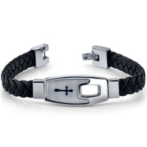 Mens Stainless Steel and Braided Leather Cross Motif Bracelet Style SB3920