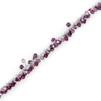 Fuchsia Fusion: Sterling Silver Charm Bracelet with Swarovski Crystal Beads Style SB3984