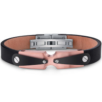 Mens Stainless Steel and Leather Bracelet with Industrial Black and Rose Gold Accents Style SB4020