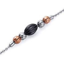 Jet Black and Gold Tone Corrugated Bead Stainless Steel Chain Bracelet Style SB4116