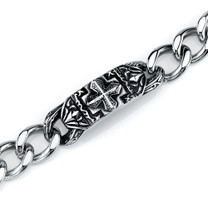 Gothic ID Style Stainless Steel Celtic Cross Curb Chain Bracelet Style SB4208