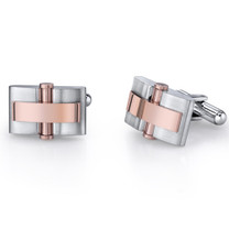 Mens Stainless Steel Cuff Links with Rose Gold Rivet Accents on Black Cord Necklace Style SC1040