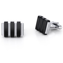 Mens Stainless Steel Cuff Links With Raised Black Stripe Accents On Black Cord Necklace Style SC1042