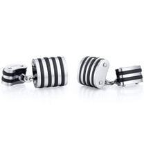 Unique Black Stripe Polished Titanium Chain Style Mens Cufflinks Style SC1056