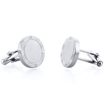 Round Greek Key Style Matte Finish Titanium Mens Cufflinks Style SC1062