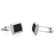 Black Bubble Texture Rectangular Brushed Finish Titanium Mens Cufflinks Style SC1066