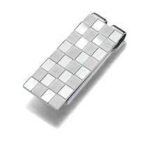 Stainless Steel Chessboard Style Dual finish Money clip Style SMC1016