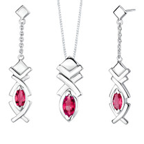 Marquise Shape Ruby Pendant Earrings Set in Sterling Silver Style SS2012