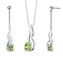 3.50 carats Oval Shape Peridot Pendant Earrings Set in Sterling Silver Style SS2026
