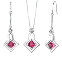 Princess Cut Ruby Pendant Earrings Set in Sterling Silver Style SS2052