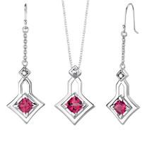 Princess Cut Ruby Pendant Earrings Set in Sterling Silver Style SS2052