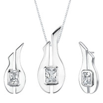 Radiant Cut White Cubic Zirconia Pendant Earrings Set in Sterling Silver Style SS2076