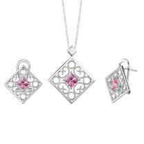 Princess Cut Pink Cubic Zirconia Pendant Earrings Set in Sterling Silver Style SS2098