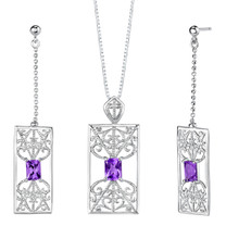 2.75 carats Radiant Cut Amethyst Pendant Earrings Set in Sterling Silver Style SS2120