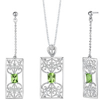 3.50 carats Radiant Cut Peridot Pendant Earrings Set in Sterling Silver Style SS2126