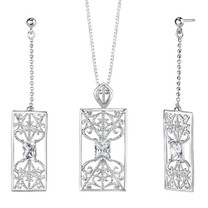 Radiant Cut White Cubic Zirconia Pendant Earrings Set in Sterling Silver Style SS2136