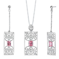 Radiant Cut Pink Cubic Zirconia Pendant Earrings Set in Sterling Silver Style SS2138