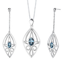 4.25 carats Oval Shape London Blue Topaz Pendant Earrings Set in Sterling Silver Style SS2150