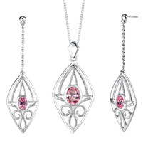 Oval Shape Pink Cubic Zirconia Pendant Earrings Set in Sterling Silver Style SS2158