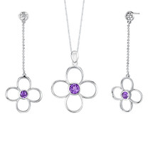 2.25 carats Round Shape Amethyst Pendant Earrings Set in Sterling Silver Style SS2160