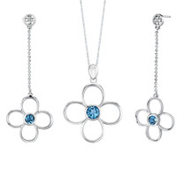 3.00 carats Round Shape London Blue Topaz Pendant Earrings Set in Sterling Silver Style SS2170