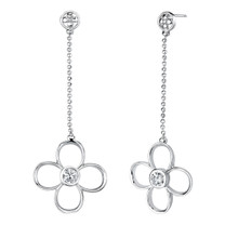 Round Shape White Cubic Zirconia Pendant Earrings Set in Sterling Silver Style SS2176
