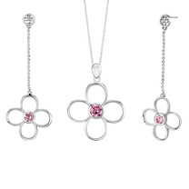 Round Shape Pink Cubic Zirconia Pendant Earrings Set in Sterling Silver Style SS2178