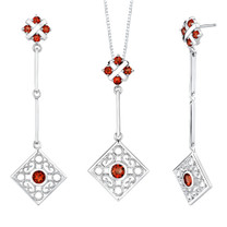 4.50 carats Round Shape Garnet Pendant Earrings Set in Sterling Silver Style SS2184