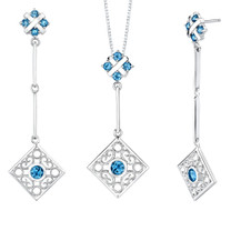 4.00 carats Round Shape London Blue Topaz Pendant Earrings Set in Sterling Style SS2190