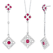 Round Shape Ruby Pendant Earrings Set in Sterling Silver Style SS2192
