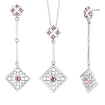 Round Shape Pink Cubic Zirconia Pendant Earrings Set in Sterling Silver Style SS2198