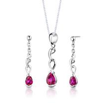 Sterling Silver Pear Shape Ruby Pendant Earrings Set Style SS2716