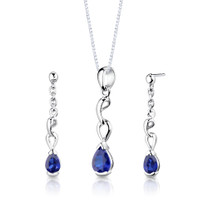Sterling Silver Pear Shape Sapphire Pendant Earrings Set Style SS2718