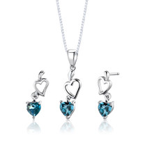 Sterling Silver 2.00 Carats Heart Shape London Blue Topaz Pendant Earrings Set Style SS2742