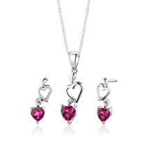 Sterling Silver Heart Shape Ruby Pendant Earrings Set Style SS2744