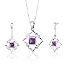 Sterling Silver 2.00 Carats Princess Cut Amethyst Pendant Earrings Set Style SS2818