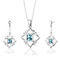 Sterling Silver 2.25 Carats Princess Cut Swiss Blue Topaz Pendant Earrings Set Style SS2824